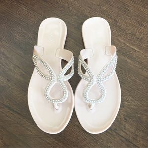 Qupid nude Sandals flip flop with crystal